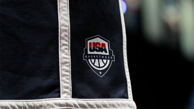 A U.S. Olympic basketball team logo is seen on the team shorts during a practice Saturday, July 14, 2012, in Washington. (AP Photo/Alex Brandon)