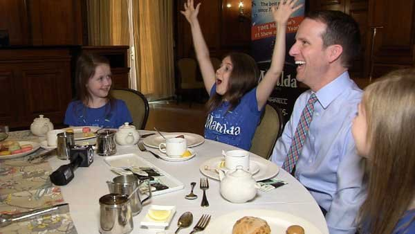 Mark Zinni hangs out with the three young actresses performing in Matilda The Musical in Hartford. (WFSB)