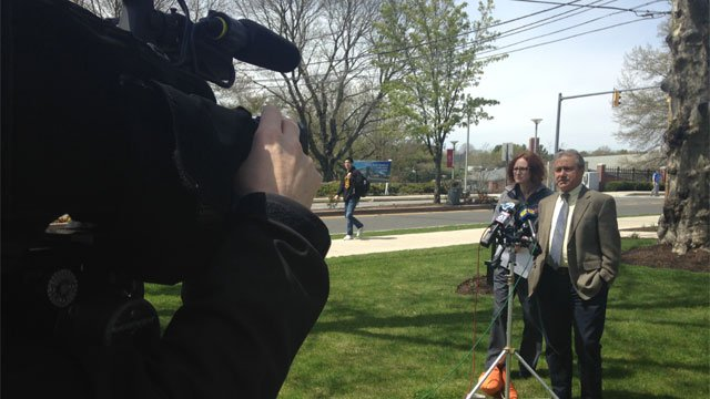 Sacred Heart University officials talk with media after cases of mumps on campus. (WFSB)
