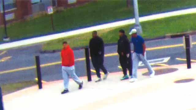 Four men were seen on surveillance video walking into Reeves Residence Hall (University of Hartford photo)