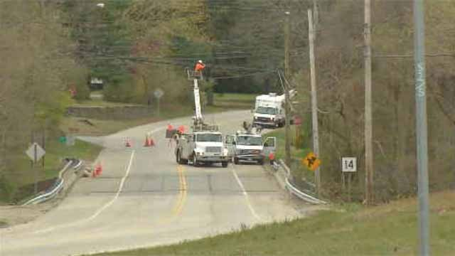 The intersection of Pickett Road andRoute 14 in Plainfield was closed on Sunday after a two car crash. (WFSB)