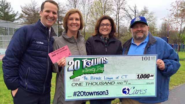 Channel 3 presented the Miracle League of Connecticut with a $1,000 donation on Monday. (WFSB)