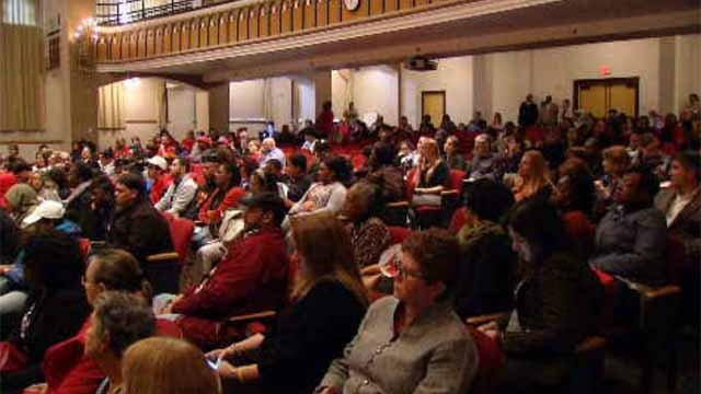 Dozens packed a Hartford school budget meeting on Tuesday night (WFSB)