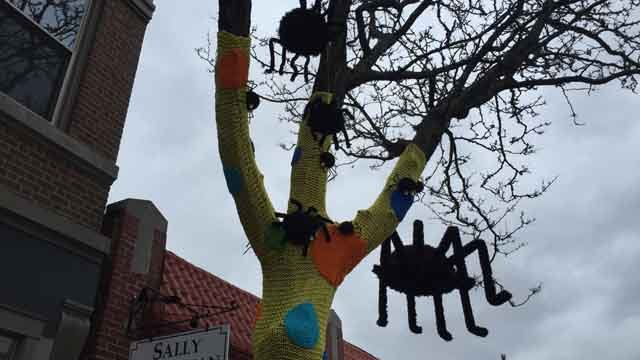 """A massive """"yarn bomb"""" was seen in New Haven on Wednesday. (WFSB)"""