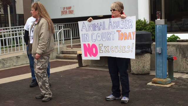 Animal rights advocates protested at Reyes' sentencing on Thursday. (WFSB photo)