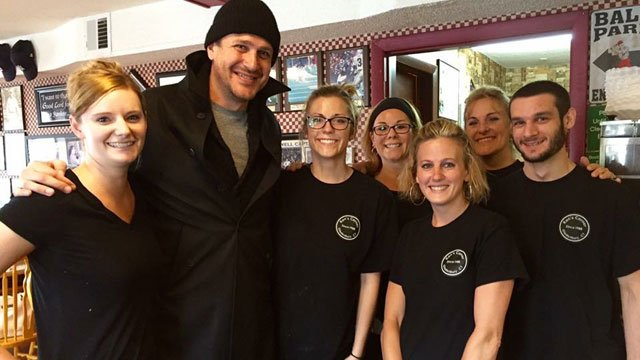 Jason Segel poses for a photo with the staff of Ken's Corner in Glastonbury. (Submitted Photo)