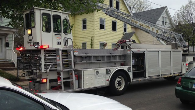 The fire was reported at a home on Gibbs Street in New Haven. (WSFB)