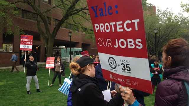 Thousands hold job security rally in New Haven (WFSB)