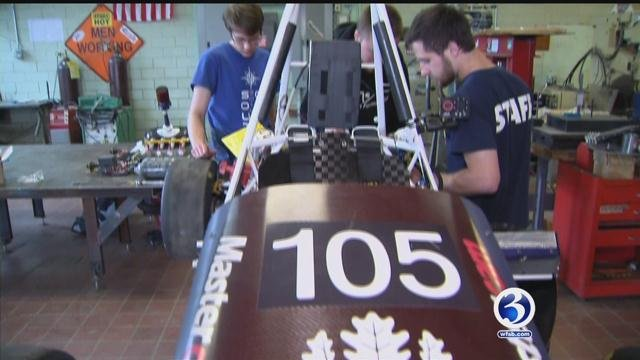 """UConn's """"Society of Automobile Engineers"""" spent the past year building a Formula 1 car. (WFSB)"""