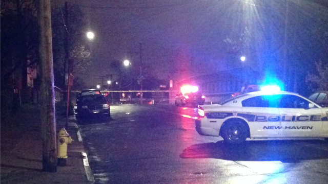 The scene of a double shooting on Arthur Dr. in New Haven. (WFSB photo)
