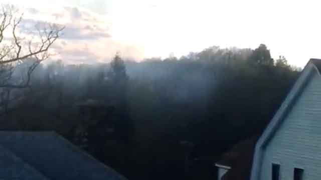 A brush fire broke out at Hamilton Park in Waterbury on Sunday, and was seen by neighbors. (iwitness)