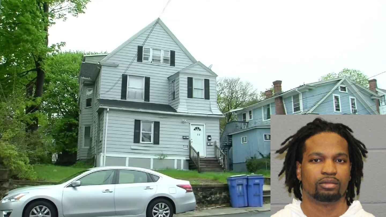 Camal Barnes is accused of murdering Ebony Swaby in their Waterbury apartment on Saturday. (WFSB/Waterbury police photos)