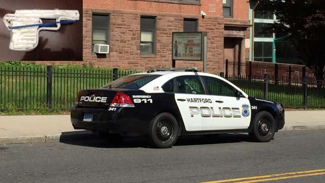A student made a paper gun that sparked a lockdown at the McDonough school in Hartford. (Hartford police/WFSB photos)