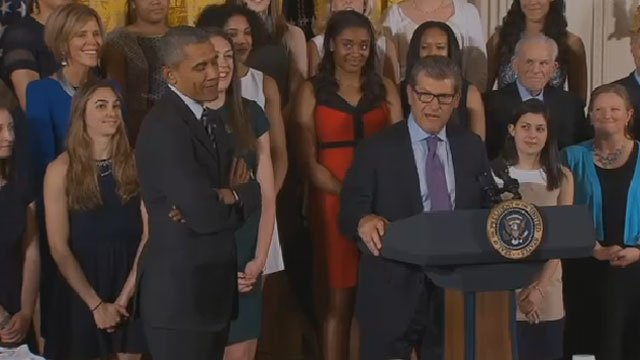 UConn Women's basketball team Coach Geno Auriemma talks at the White House. (CBS)