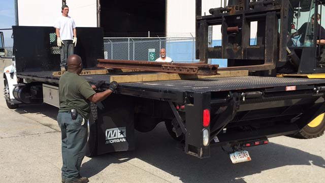 The beam arrived in Middletown Wednesday morning. (WFSB photo)