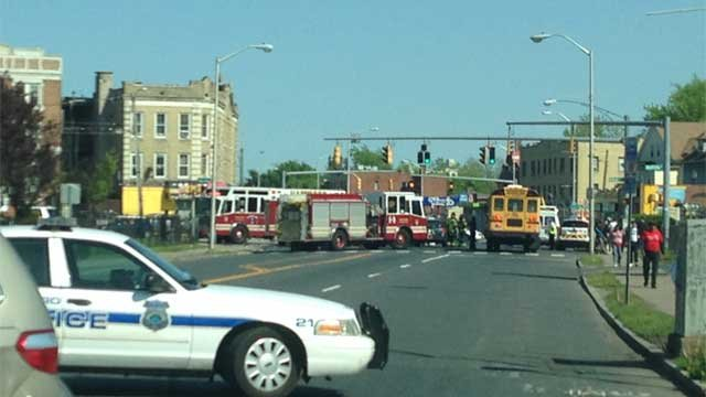 The three-car crash was reported on Albany Avenue and Vine Street in Hartford. (WFSB)