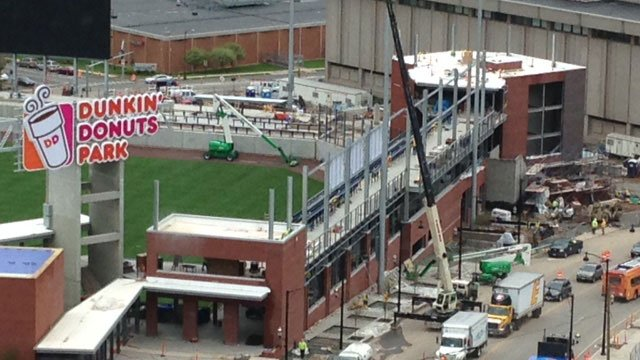 Stadium construction continues in Hartford. (WFSB photo)
