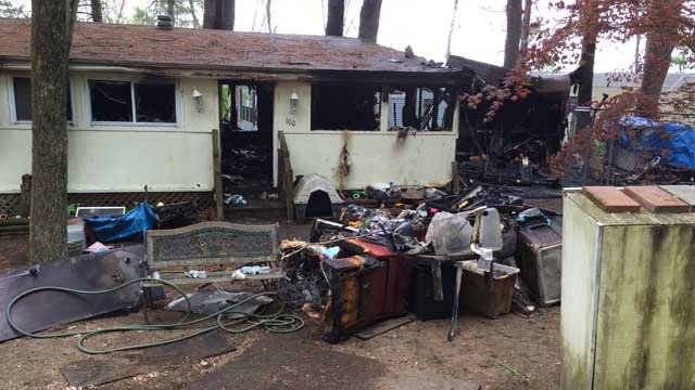 A trailer was destroyed at the Meadowland campground in Woodstock Friday morning. (WFSB photo)