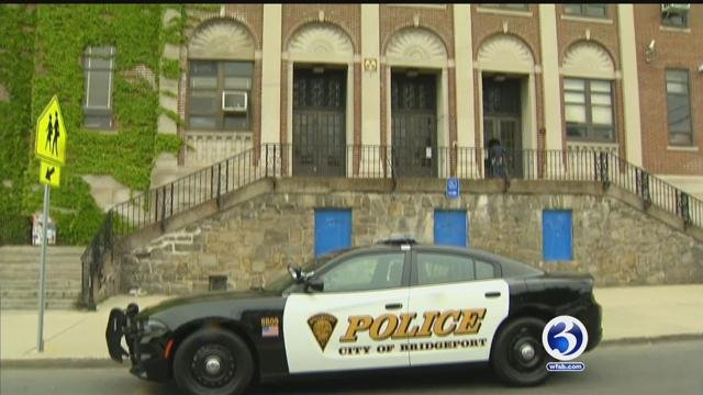 Extra police patrols were outside Harding High School in Bridgeport on Friday. (WFSB)