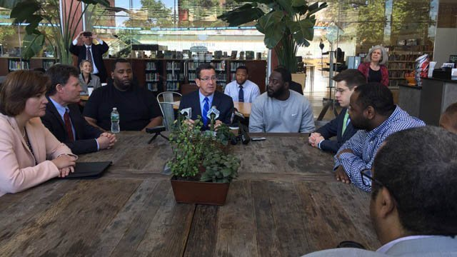 Gov. Dannel Malloy discussed his Second Chance 2.0 initiative at the Hartford Public Library Monday morning. (WFSB photo)