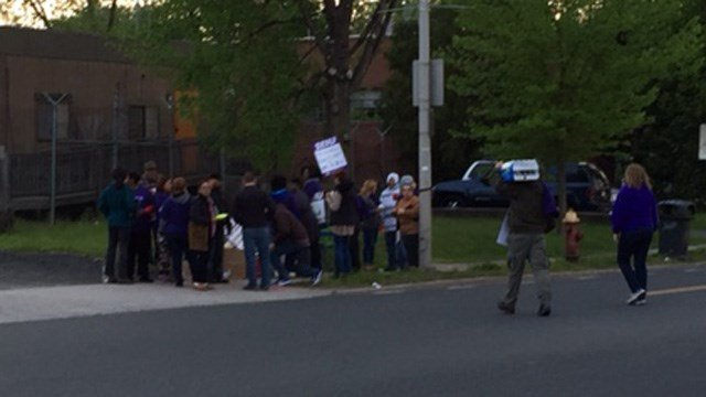 Bus drivers gathered for a protest in front of the Dattco bus lot in Hartford Tuesday morning. (WFSB photo)