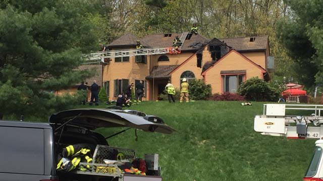 Fire was reported at a home on Woodhenge Drive in Tolland on Tuesday morning. (WFSB photo)