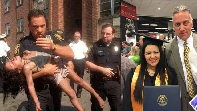 Retired Det. Peter Getz and Sgt. Donnie Camp rescued a young girl from a fire in the 90s. Getz recently attended her graduation from ECSU. (Hartford police photos)