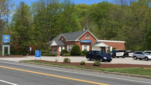 Police say a young man robbed this Webster Bank on Wolcott Road Wednesday morning. (WFSB photo)