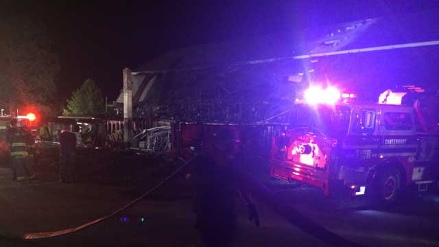 Crews battle fire at Wrights Mill Farm in Canterbury (WFSB)