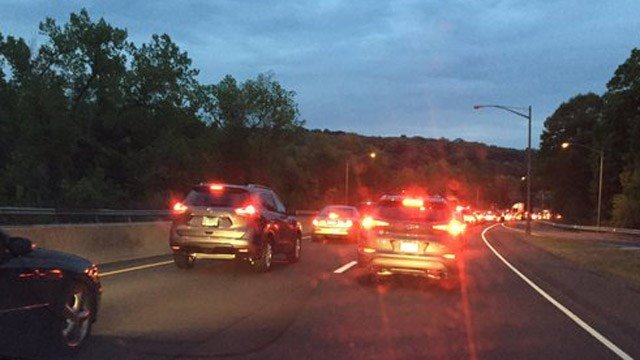 The backup on Route 8 south in Shelton following Thursday morning's deadly crash. (WFSB photo)