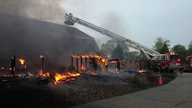 The Wrights Mill Farm experienced a significant fire Wednesday night. (Firefighter photo)