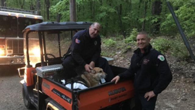 Hamden firefighter Kurt Vogt, Maria  and firefighter Chip Talmadge pose for photo after rescue. (Hamden Fire Department)