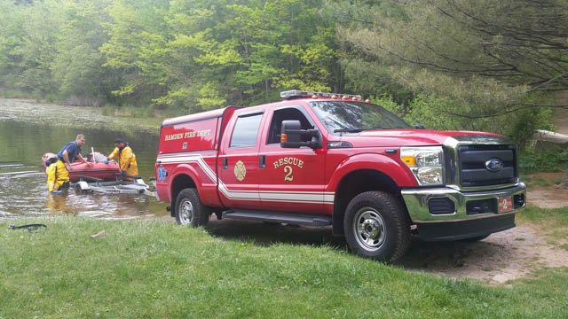 A search after a reported overturned kayak turned up nothing in Hamden Thursday morning. (Hamden Fire Dept. photo)