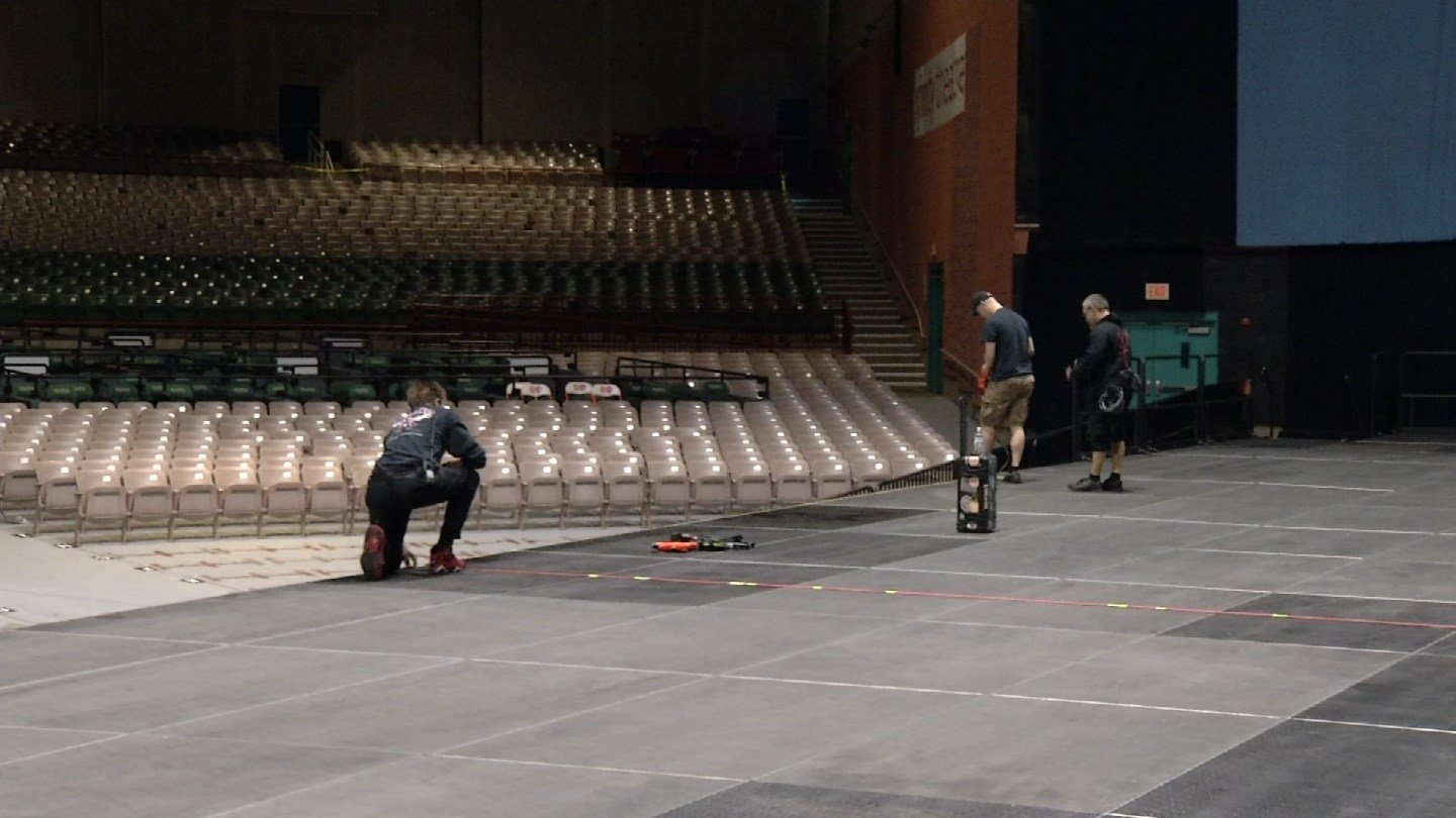 Crews prepare for the Zac Brown Band at the Xfinity Theatre in Hartford. (WFSB photo)