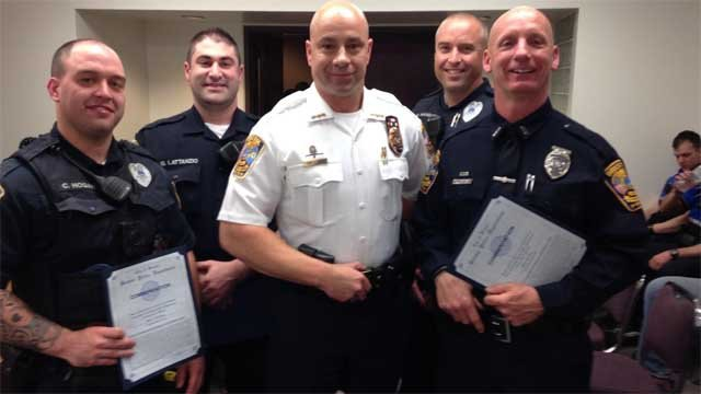 From left: Officer Conor Hogan, Officer Gregg Lattanzio, Chief Brian Gould, Officer Eric Hanson and Officer Dan Dwyer. Officers Hogan and Dwyer were also recognized for their work to help end drunk driving. (Bristol Police)