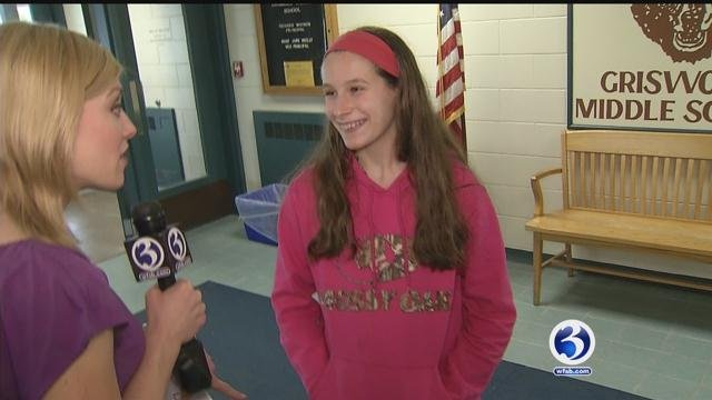 Our team headed to Griswold Middle School in Rocky Hill where Lia Roybal, 13, was in class unaware of her surprise. (WFSB)