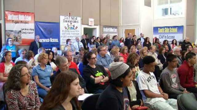 Parents and students filled the meeting on Thursday, fighting to keep programs like band and art off the chopping block. (WFSB)