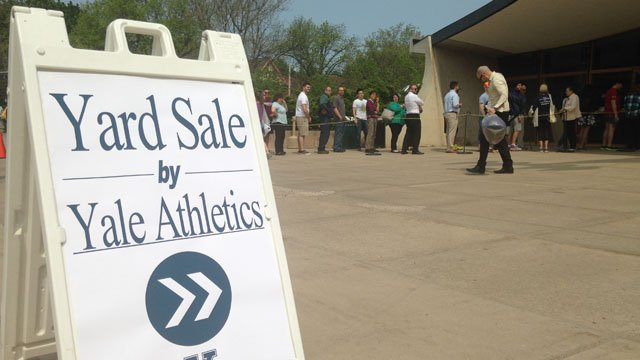 A switch in sponsors prompted a Yale athletics tag sale on Friday. (WFSB photo)