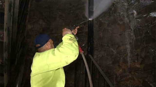 On Friday morning, crews were seen working to get the vandalism off. (WFSB)