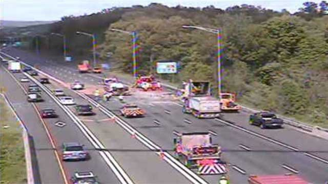 Traffic backed up for miles on Friday evening after a truck fire earlier in the day (CT DOT)