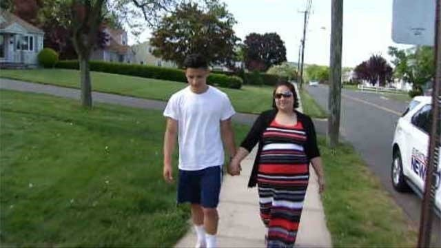 Jay Jay Quiles saved his pregnant mother, Rosa Cisneros, by performing the hiemlich. (WFSB)