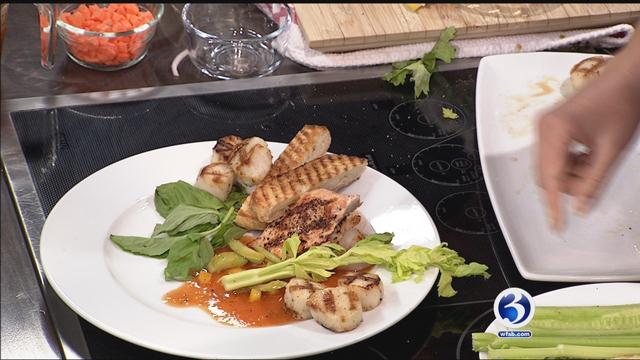 Haylon's Market makes grilled seafood on gazpacho salad. (WFSB)