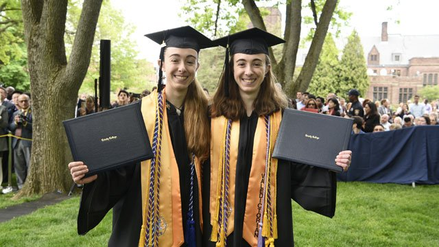 Twin sisters and Glastonbury residents Jami R. Cogswell and Darcy J. Cogswell were Valedictorian and Salutatorian for Trinity College Class of 2016. (Trinity College)