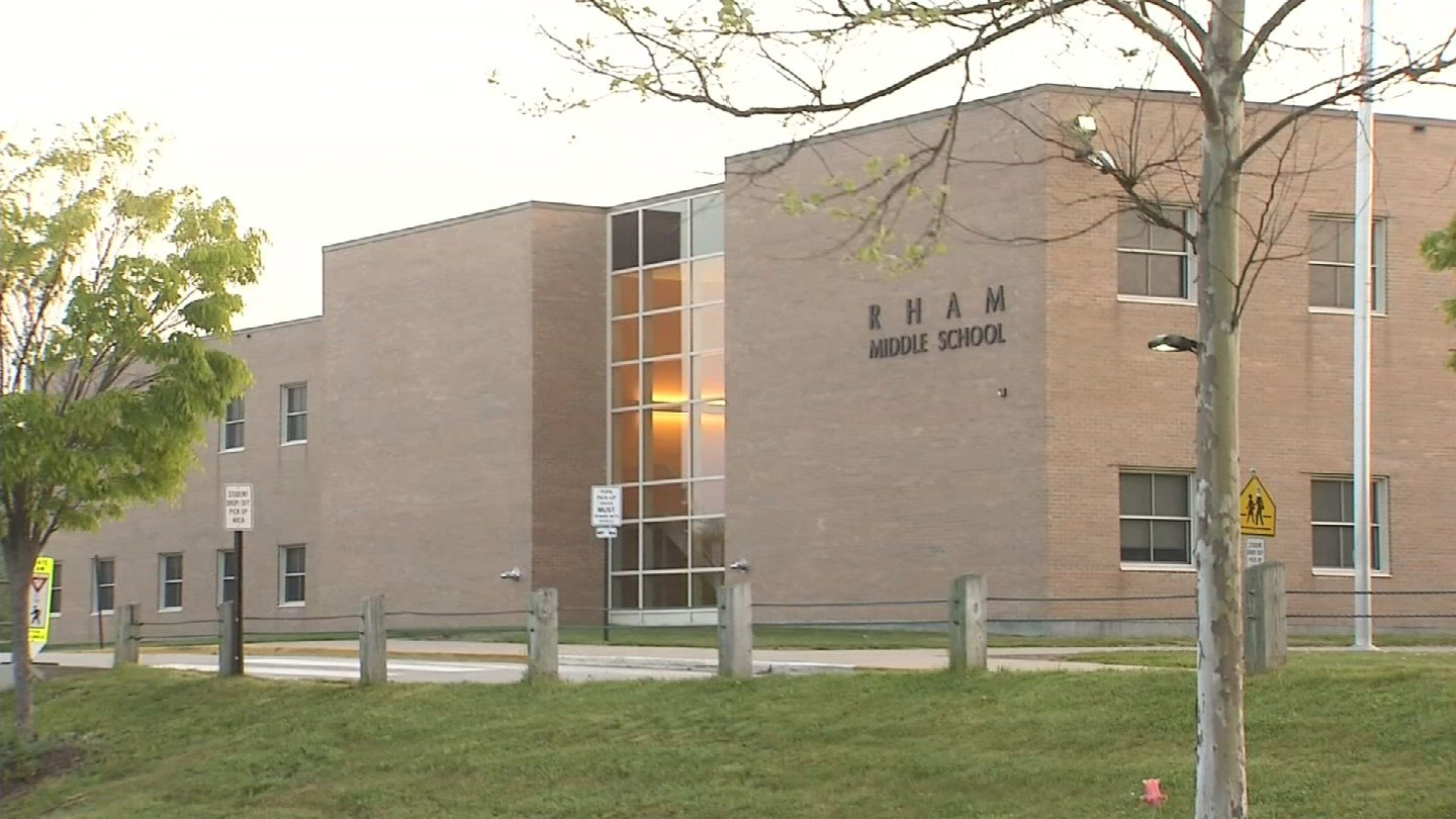An increased police presence is expected at RHAM Middle School in Hebron following a bathroom threat. (WFSB photo)