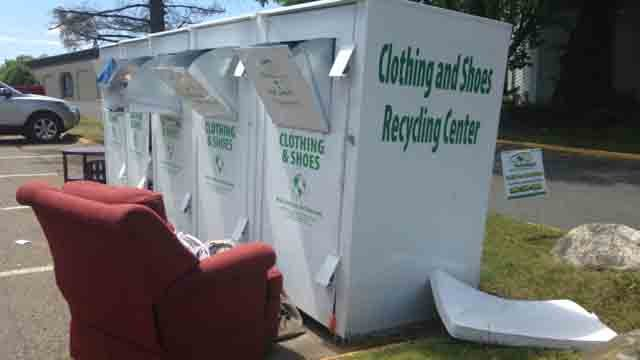 People are dumping items that don't belong outside of donation bins in Watertown. (WFSB)
