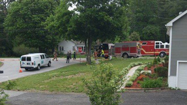 A gas line rupture closed Route 12 in Killingly Tuesday morning. (John Adams/iWitness photo)