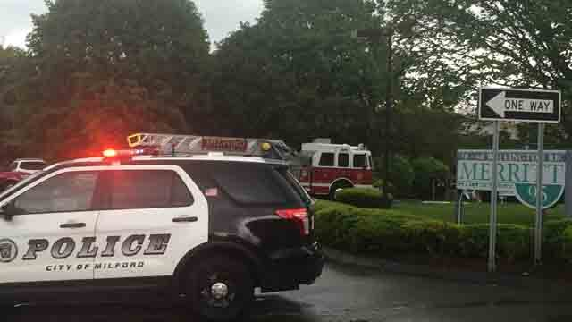 Emergency crews investigate suspicious package at DCF office in Milford. (WFSB)
