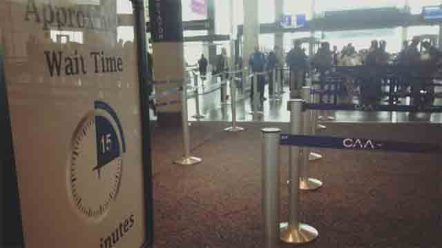Travelers at Bradley Airport experience long wait times (WFSB)
