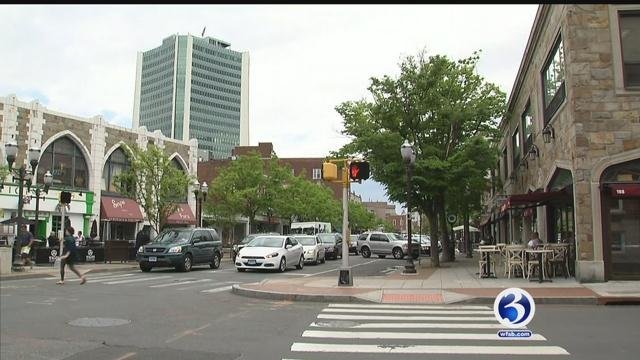 The unidentified woman was attacked on Spring Street on Sunday, police said. (WFSB)