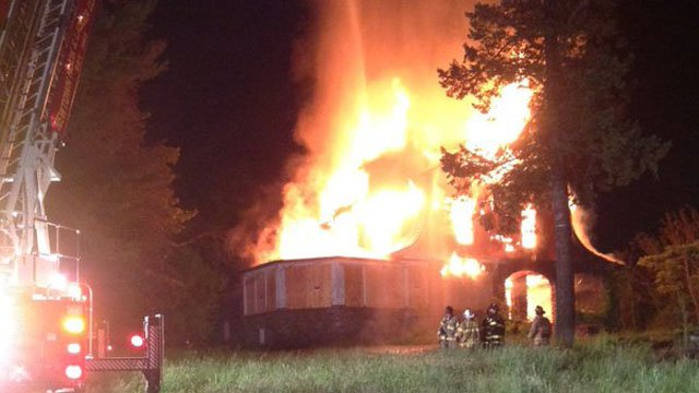 An overnight fire destroyed an old mansion on Castle Hill Road in Newtown. (Stony Hill Fire Department)